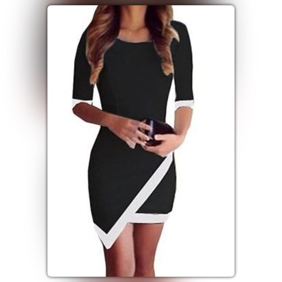 Dresses Black Half Sleeve Mini Dress W White Trim Detail Poshmark